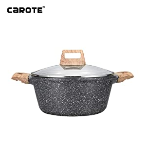 Carote Non-Stick Granite Coating Casserole Sauce pot with lid,6-Quart
