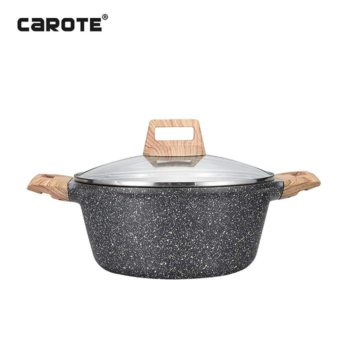 Carote Non-Stick Granite Coating Casserole Sauce pot with lid,6-Quart