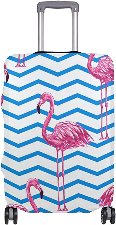 Elastic Travel Luggage Cover Tropical Flowers Flamingoes Suitcase Protector for 18-20 Inch Luggage