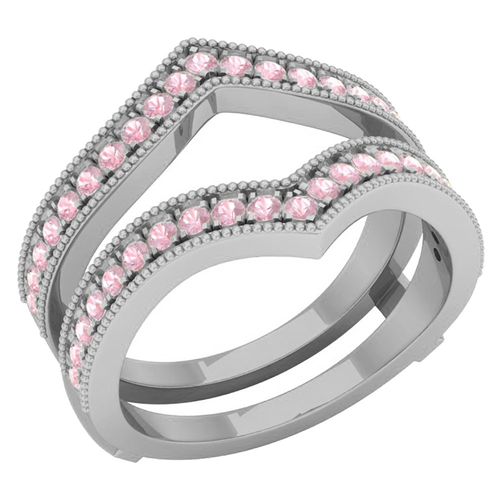 RUDRAFASHION 1.20 Carat (Ctw) 10K White Gold Over .925 Sterling Silver Round Pink Sapphire Ladies Anniversary Wedding Band Guard Double Ring