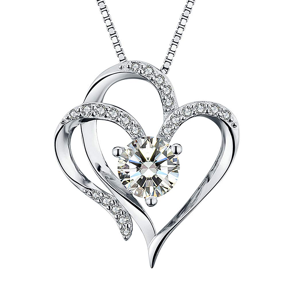 19b1c9e2bc51 Amazon.com  Heart Necklace 14K White Gold Plated 5A Cubic Zirconia Pendant  Necklaces for women  Jewelry