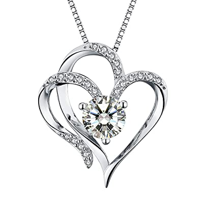 4b0bb8bd8be7 Amazon.com  Heart Necklace 14K White Gold Plated 5A Cubic Zirconia Pendant  Necklaces for women  Jewelry