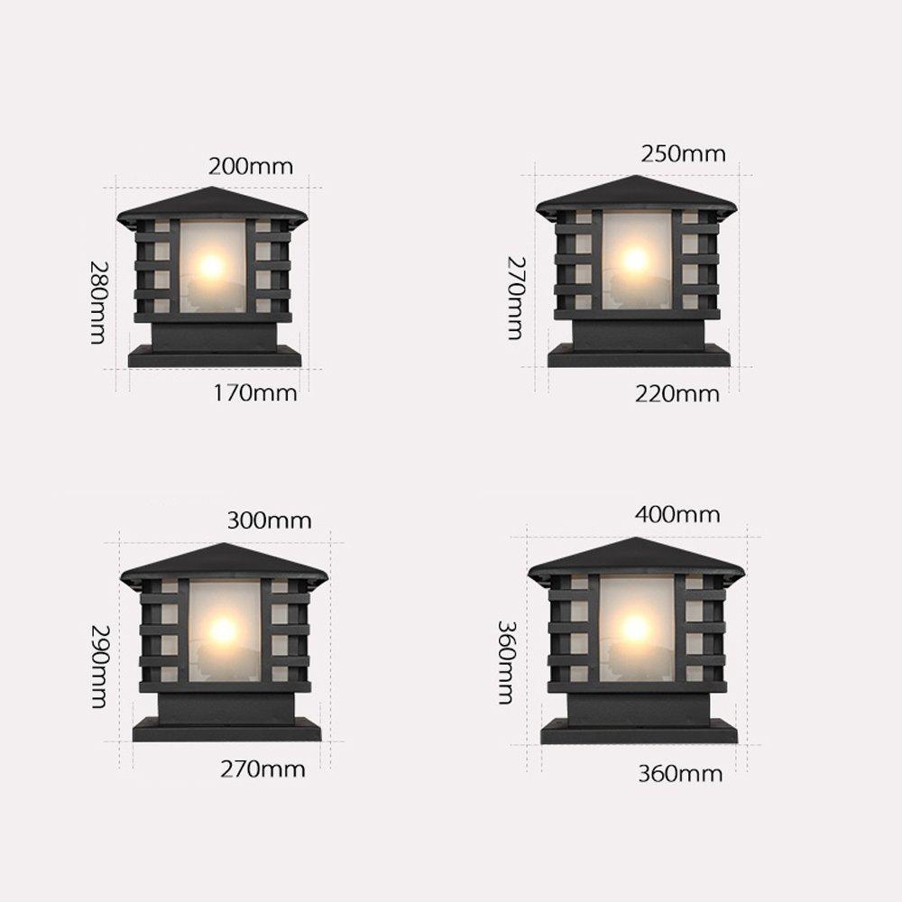 Modeen Continental Victoria Retro LED Outdoor Table Lamp Waterproof Villa Balcony Fence Column Lamp Desk Light Glass Aluminum Light Black E27 Decoration Garden Lights Lawn Lamp (Size : 36cm40cm) by Modeen (Image #6)