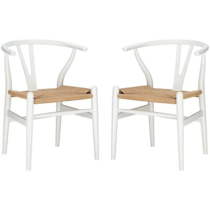 Poly And Bark Wegner Wishbone Style Chair, White, Set Of 2