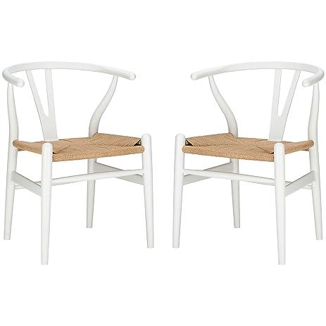 poly and bark wegner wishbone style chair white set of 2