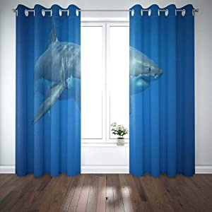 Shorping 52X84 Inch 3D Window Curtains, Privacy Window Curtain Great White Shark Swimming Window Blackout Curtains for Bedroom,2 Pc