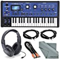 Novation MiniNova 37-Mini-Key Analog Modeling Synthesizer W/ Deluxe Bundle, Samson Stereo Headphone, Cables, and FiberTique Cleaning Cloth by Photo Savings