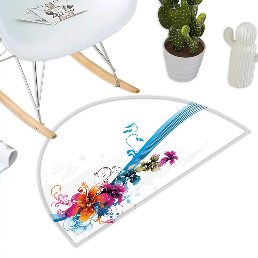 color15 H 23.6  xD 35.4  Floral Semicircle Doormat Abstract Creative Doodle Style Blossoms and Striped Leaf Figures Halfmoon doormats H 27.5  xD 41.3  Pale Grey Black and White