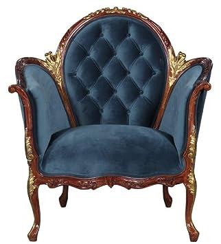Casa-Padrino sillón de salón Barroco de Terciopelo Azul ...