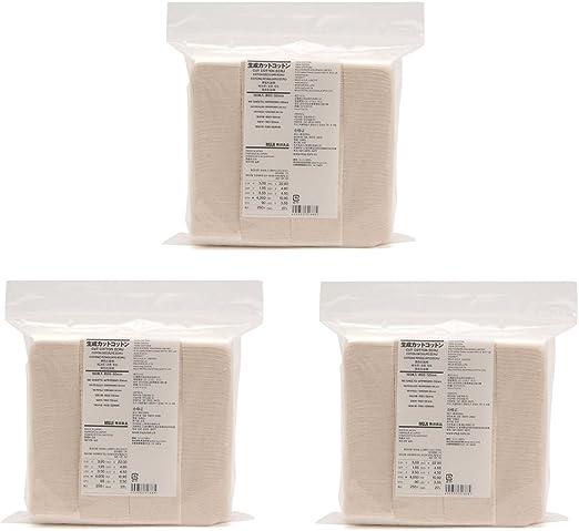 Muji maquillaje facial suave corte algodón crudo 60 x 50 mm 180pcs (3 unidades conjuntos): Amazon.es: Hogar