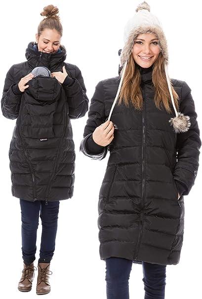 GoFuture Damen Tragejacke für Mama und Baby 4in1 Känguru Jacke Umstandsjacke Winterjacke Daunen Winter Noorvik