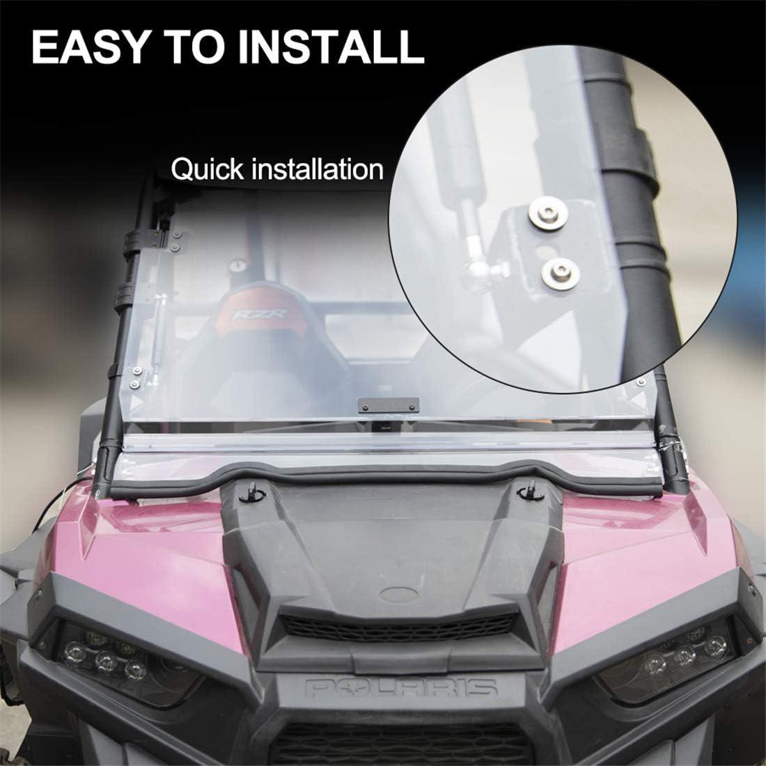 KIWI MASTER Heavy Duty 3-IN-1 Flip Windshield Compatible for 2014-2018 Polaris RZR XP 1000 Scratch Resistant