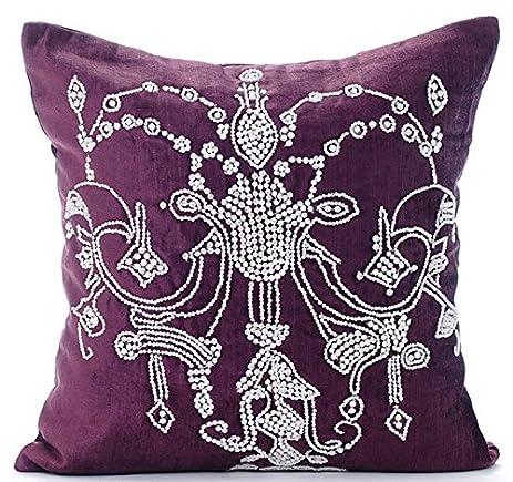 Amazon Designer Plum Decorative Pillow Cover Crystals Extraordinary Bling Decorative Pillows