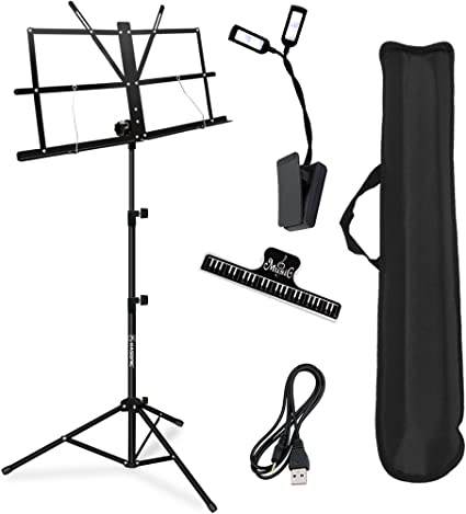 Suitable for School and Choirs ADM Music Stand Lightweight Easy to Set Collapsible Adjustable Orchestra Portable Sheet Music Stand with Carry Bag Black