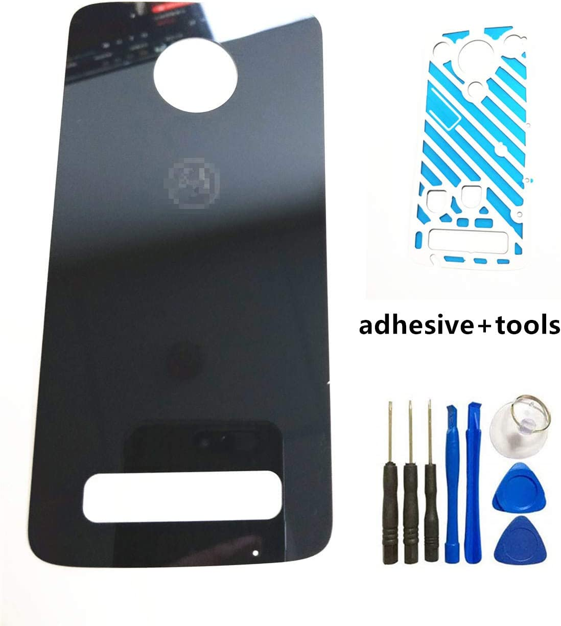 Motorola Moto Z3 Rear Back Cover Glass Replacement for Motorola Moto Z3 XT1929-17 XT192917 Verizon Back Cover Door Housing Replacement Parts with Sticker Tools Verizon Black