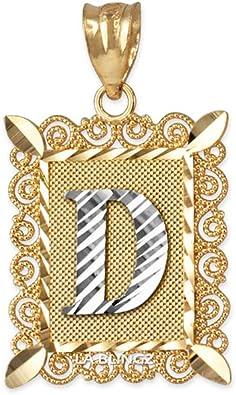LA BLINGZ 10K White Gold Filigree Alphabet Initial Letter F DC Charm Necklace