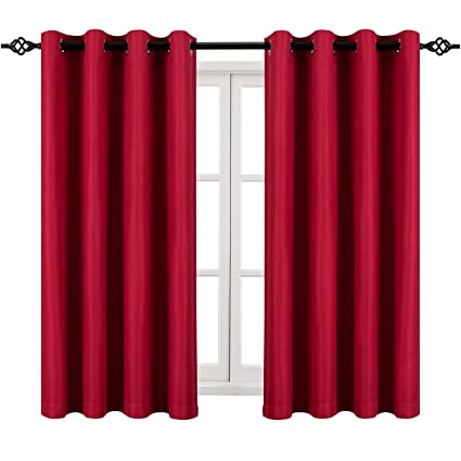 DWCN Room Darkening Red Curtains - Faux Linen Light Filtering Grommet  Living Room Curtains, 52 x 54 inch, Set of 2 Window Curtain Panels