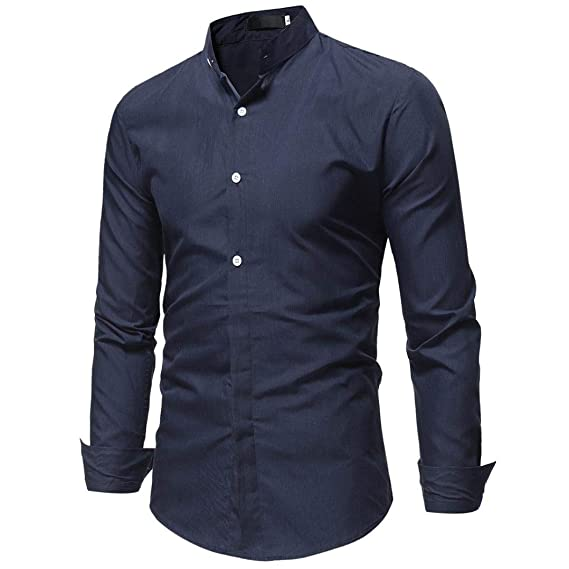 ♚Blusa Hombre Manga Larga,Camisa de Moda Color sólido Puro botón Camisa Casual Masculina