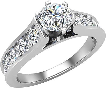 anillo de oro blanco exclusivo con diamante de 1 Ct