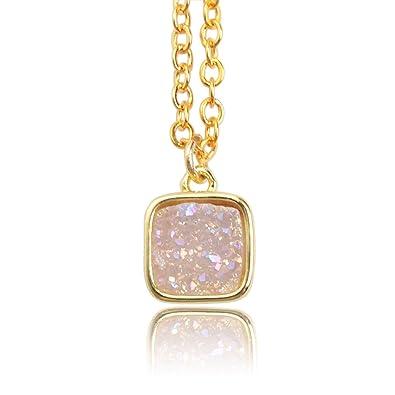 d580e5724 ZENGORI Gold Plated Square AB Color Natural Agate Titanium Druzy Charm  Necklace