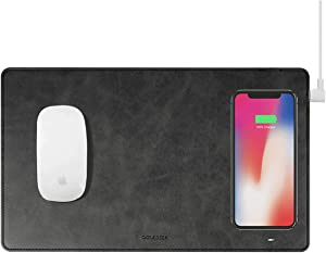 Gaze PAD Qi Wireless Fast Charging Mouse Pad Mat for iPhone 11 X iPhone 8 Galaxy S9 S10 S20 Plus Samsung Note 8 9 10 (Black)