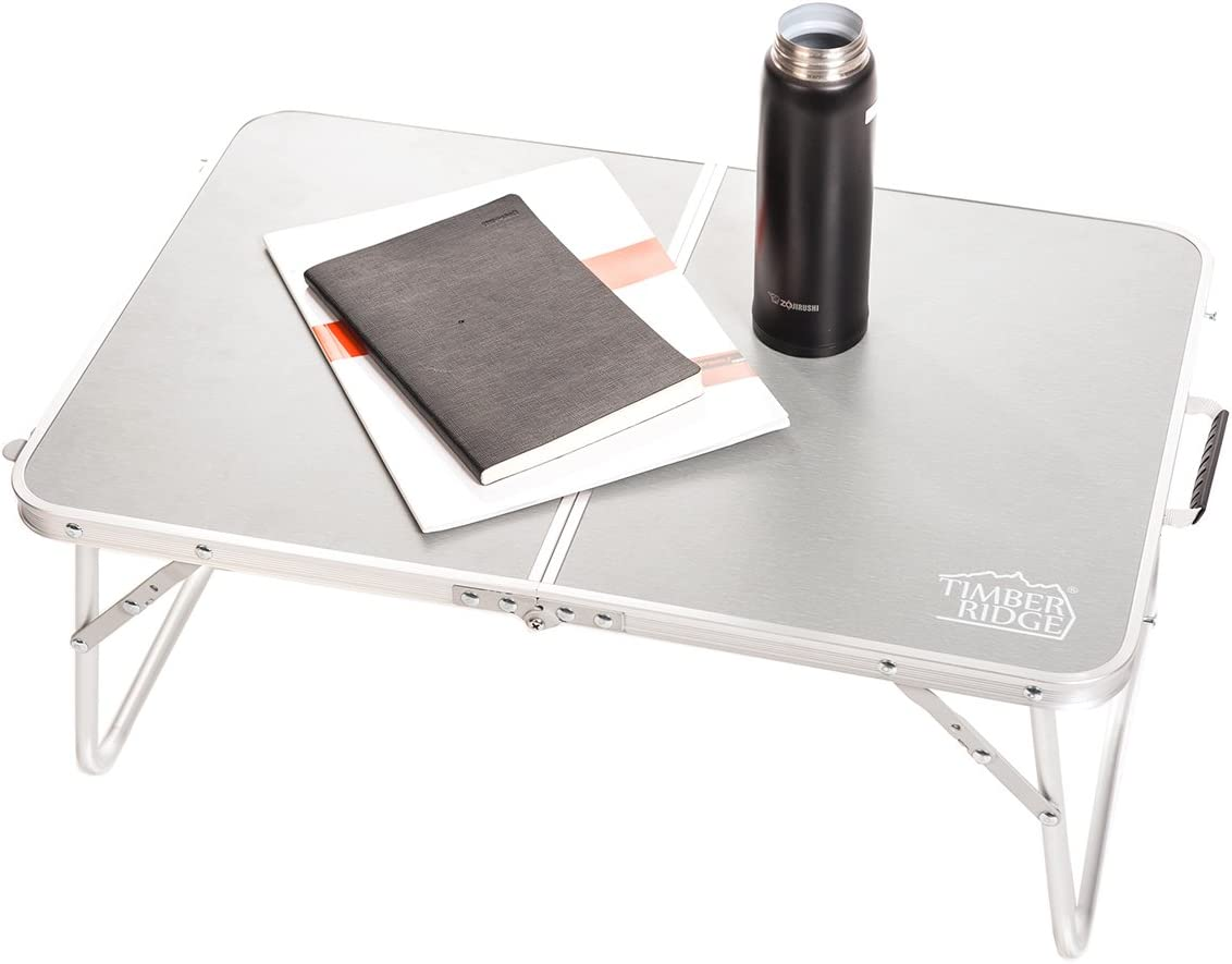 Timber Ridge Laptop Table for Bed and Sofa Computer Table for Reading Ultra Lightweight Breakfast Serving Tray Portable Mini Picnic Outdoor Camping Table Foldable with Carry Strap