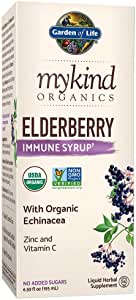 Garden of Life mykind Organics Plant Based Elderberry Immune Syrup 6.59 fl oz (195 mL) for Kids & Adults - Sambucus, Echinacea, Zinc & Vitamin C, 0g Sugar, Organic Vegan Gluten Free Herbal Supplement