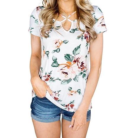 LuckyGirls Camisetas Mujer Manga Corta Bandage Floral Estampado Casual Remeras Blusas Camisas (S, Blanco