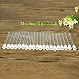 DIY 40Pcs of pack 13×100mm Clear Plastic Laboratory Test Tube with Cap