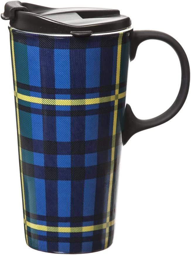 Cypress Home Green and Blue Plaid Ceramic Travel Cup - 5 x 7 x 4 Inches Insulated Travel Mug for Coffee Tea and More!