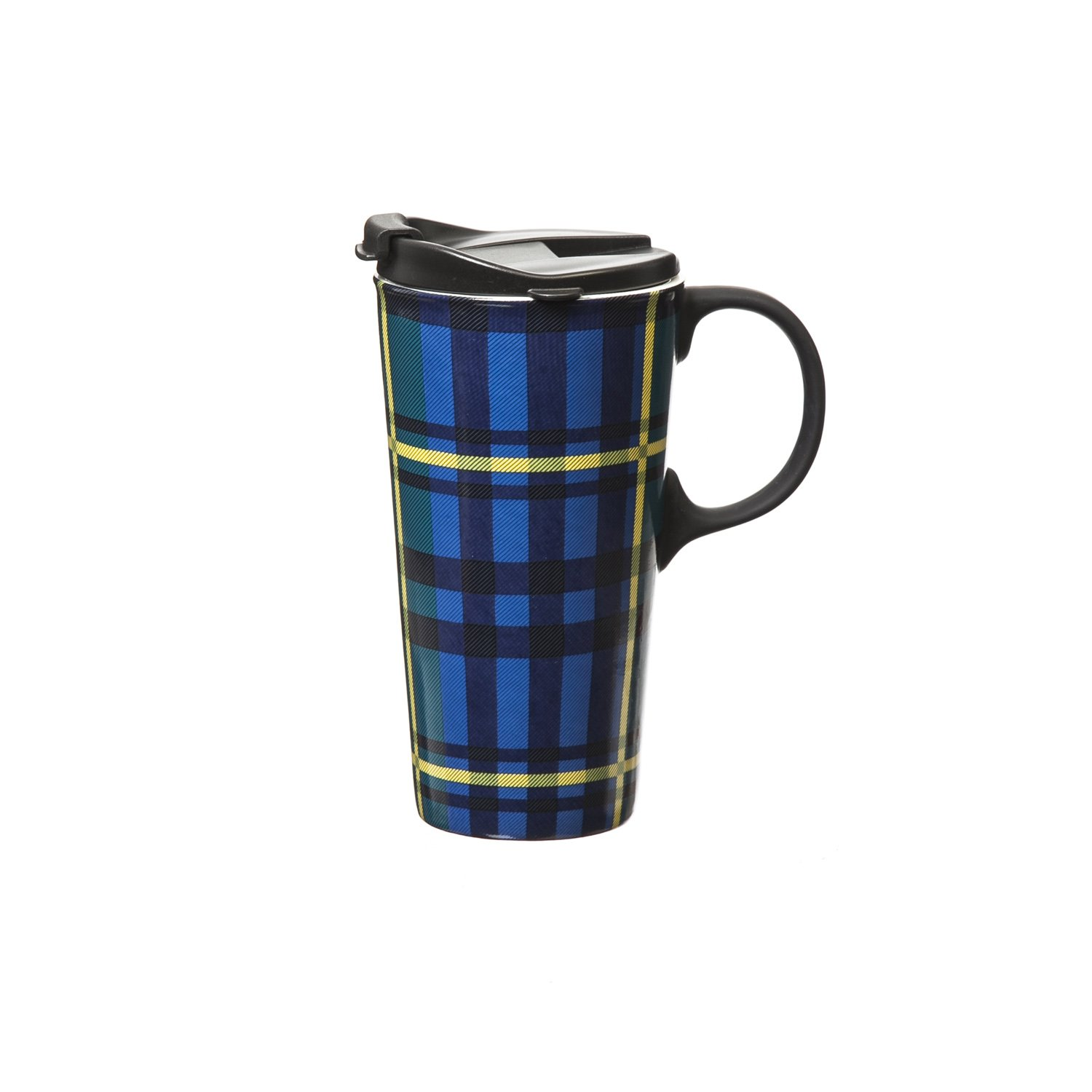 Cypress Home Green and Blue Plaid Ceramic Travel Coffee Mug with Gift Box, 17 ounces