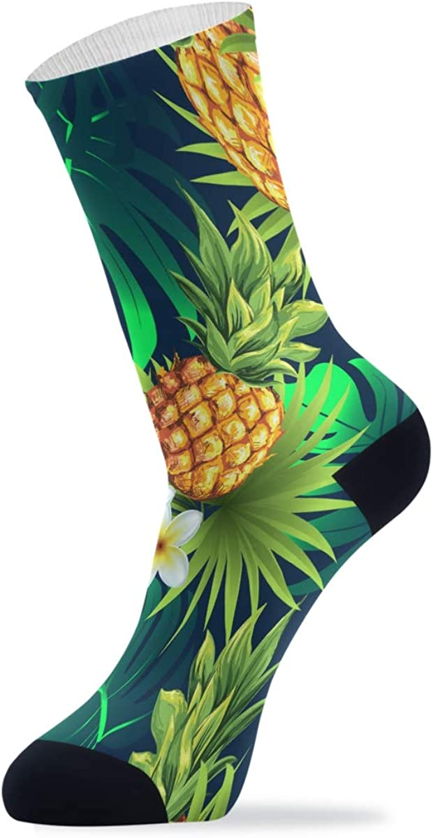 Pineapples With Palm Tropical Leaves Athletic Crew Socks Cushion Running Socks for Women Men Sport Wicking