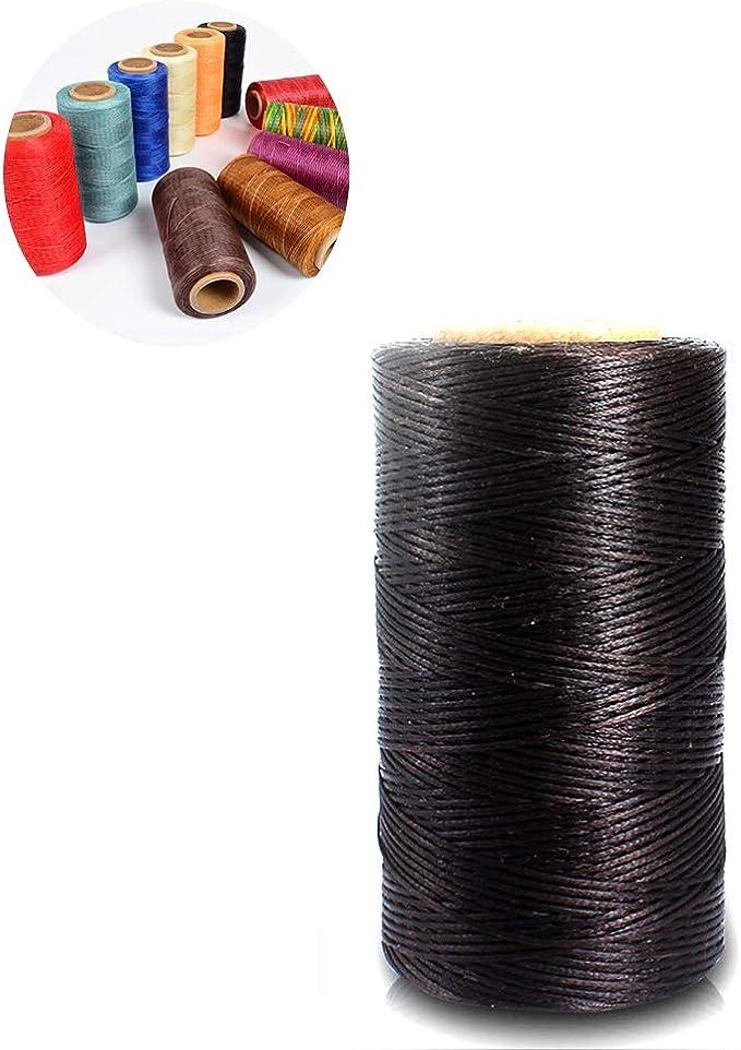 Romote Coser Encerado Hilo 150D 1mm Nylon Mano Costura Cuerda para artesanía de Cuero DIY y dedal Coser marrón Oscuro 260M: Amazon.es: Hogar