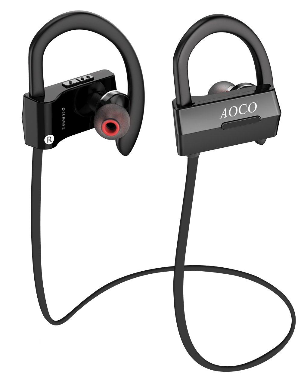 72bbbe91ea7 Amazon.com: AOCO Bluetooth Headphones Wireless in-Ear Sports Stereo Noise  Isolating Sports Sweatproof Headset with Mic and Soft Security Hooks: Home  Audio & ...
