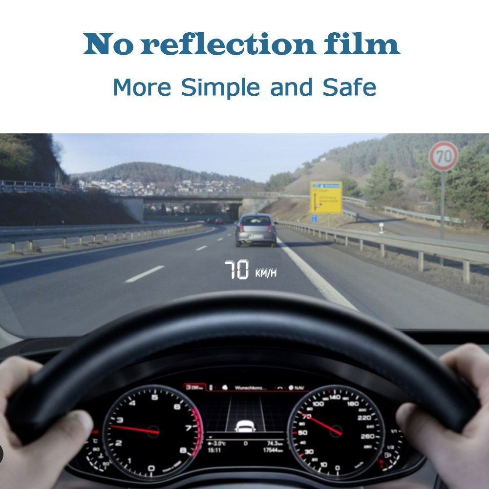 Car HUD Head up Display 3.5', OBD2/EUOBD Interface Plug & Play Measure Driving Speed Display KM/h MPH Speeding Warning Water Temperature Battery Voltage Fatigue Driving Warning YANDA