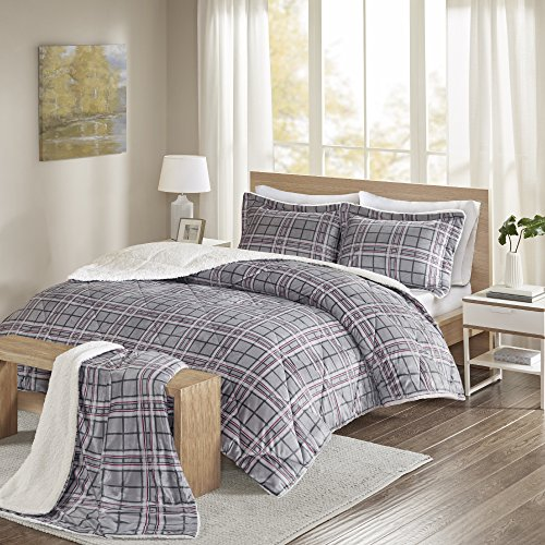 Comfort Spaces – Aaron Sherpa Comforter Set + Throw Combo – 4 Piece – Checker Plaid Pattern – Grey, Red – Full/Queen Size – Ultra Softy, Fluffy, Warm – includes 1 Comforter, 2 Shams, 1 Throw