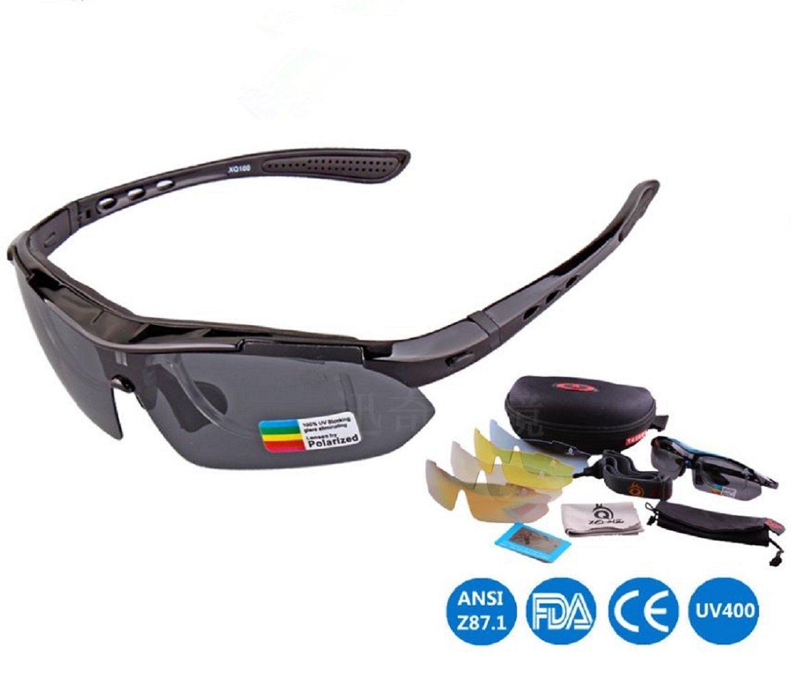 【現金特価】 偏光スポーツサングラス5に交換可能レンズメンズUV Eye ブラック Protection Unbreakableフレームfor野球釣りRunningサイクリング運転 B0714FGPG2 Protection B0714FGPG2 ブラック, リフォームのピース ザネクスト:da9910b1 --- vilazh.indexis.ru