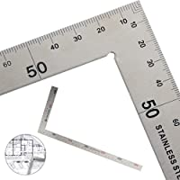 GOLRISEN Vierkante liniaal, roestvrij staal Framing vierkante rechte hoek liniaal, L vorm dubbelzijdig meten layout tool…