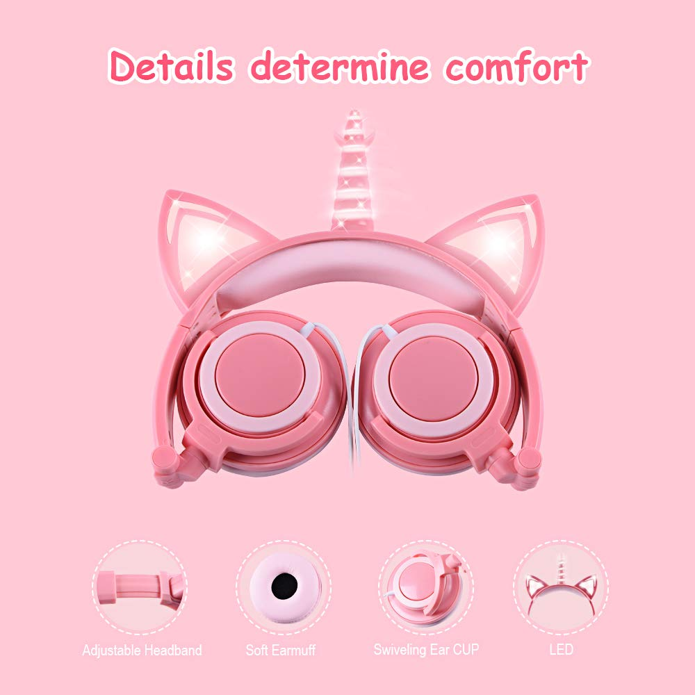 esonstyle Unicorn Kids Headphones, Over Ear with LED Glowing Cat Ears,Safe Wired Kids Headsets 85dB Volume Limited, Food Grade Silicone, 3.5mm Aux Jack.Cat-Inspired Headphones for Girls (Peach) by esonstyle (Image #3)