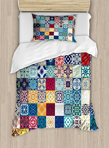 Lunarable Patchwork Duvet Cover Set Twin Size, Large Collection of Old Fashioned Cultural Motifs of Lisbon Spain and Tunisia, Decorative 2 Piece Bedding Set with 1 Pillow Sham, Multicolor by Lunarable
