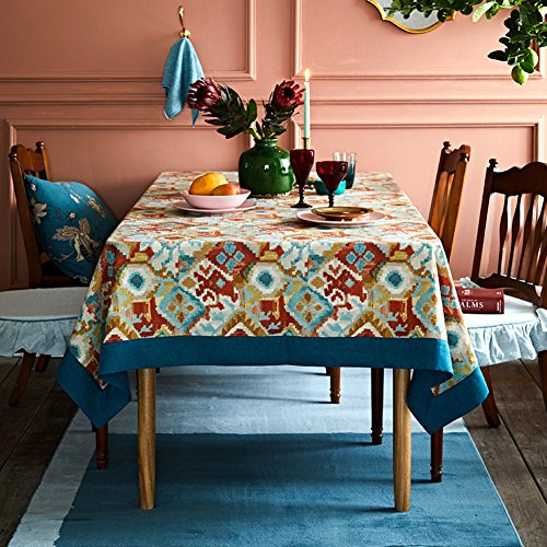 Luxury linen Tablecloths,painted Washable retro Rectangle 100% linen 1 piece Tablecloths-A - Impression Art American Native