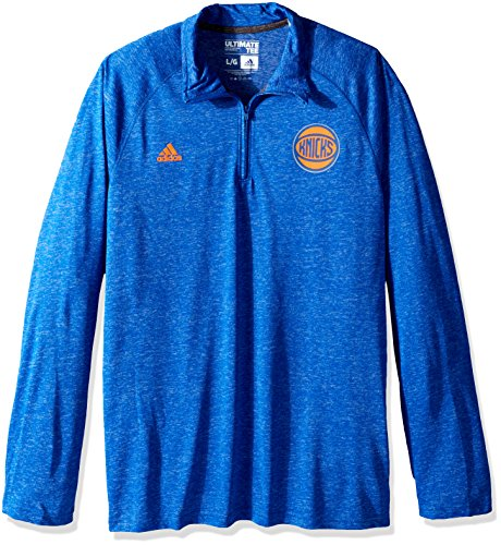 NBA New York Knicks Men's Climalite Ultimate Long Sleeve 1/4 Zip Left Chest Logo Jacket, Blue, Large