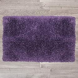 "Nestl Bedding Shaggy Bath Rug with Non-Slip Backing Rubber - Super Soft Bathroom Shower Bath Tub Rug made of Luxury Microfiber, Machine Washable, Plush Cozy Mat, Medium 20""x32"" - Purple"