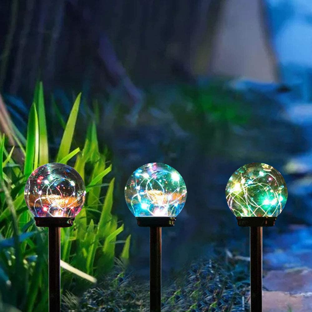 Solar Lights Outdoor,3 Pack Solar Globe Lights Waterproof Decorative Solar Landscape Path Light for Yard,Patio,Walkway-Color Changing