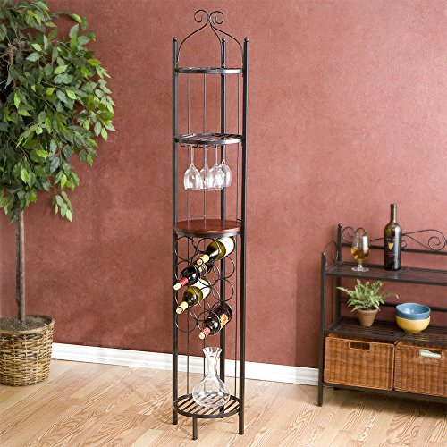 Metal Wine Rack With Glass Holder Retro Tabletop Cabinet