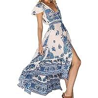 Mujer Cuello en V Profundo Maxi Vestido Floral