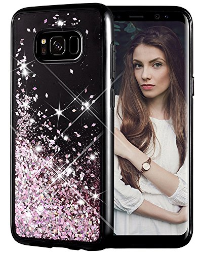 Galaxy S8 Plus Case, Caka Galaxy S8 Plus Glitter Case [Starry Night Series] Luxury Fashion Bling Flowing Liquid Floating Sparkle Glitter Girly TPU Bumper Case for Samsung Galaxy S8 Plus - (Rose Gold)