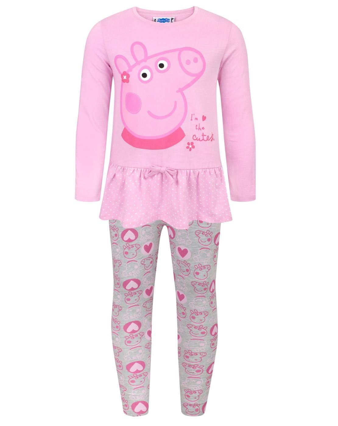 Peppa Pig -The Cutest - Set Maglietta a Maniche Lunghe e Legging - Bambina