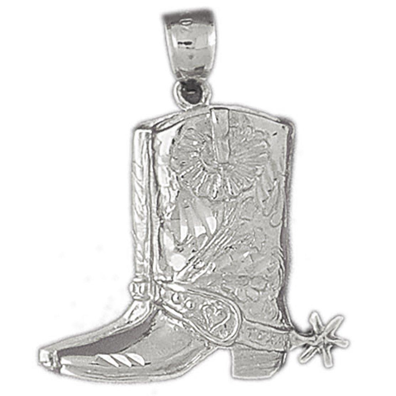 14k White Gold Cowboy Boots Pendant