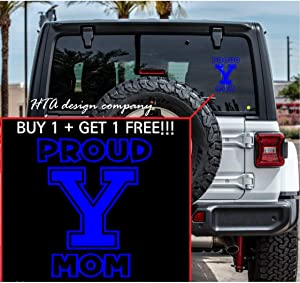 HTA Proud Yale Mom I University Vinyl Decal Sticker I for Cars, Trucks, SUV, or Home Decoration I Car Accessory (A-13)